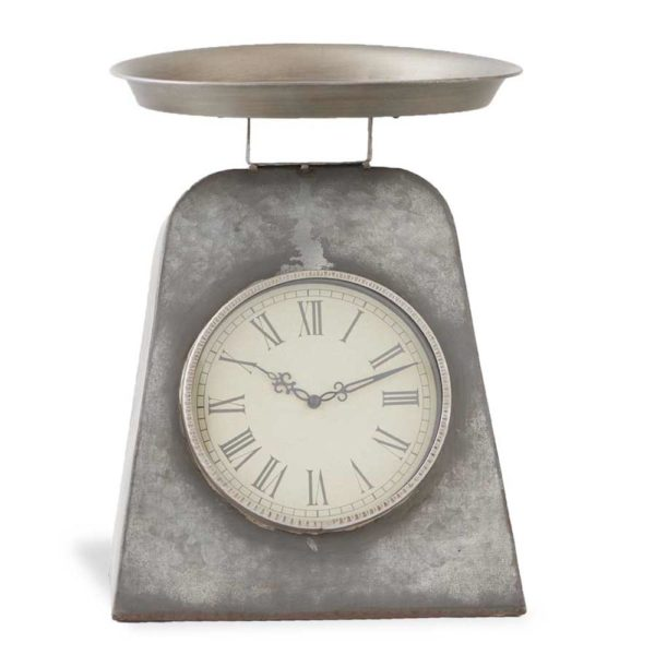 Great-Finds-Parker-Products-K&K-Interiors-15-5-inch-gray-metal-antique-scale-w-clock