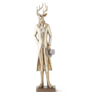 Great-Finds-Parker-Products-K&K Interiors-15-inch-gold-resin-standing-deer-w-top-hat