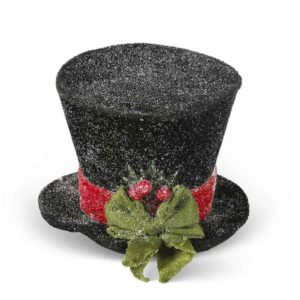 Great-Finds-Parker-Products-K&K Interiors-5-5-inch-sm-black-snow-glittered-top-hat-w-red-ribbon-and-green-bo