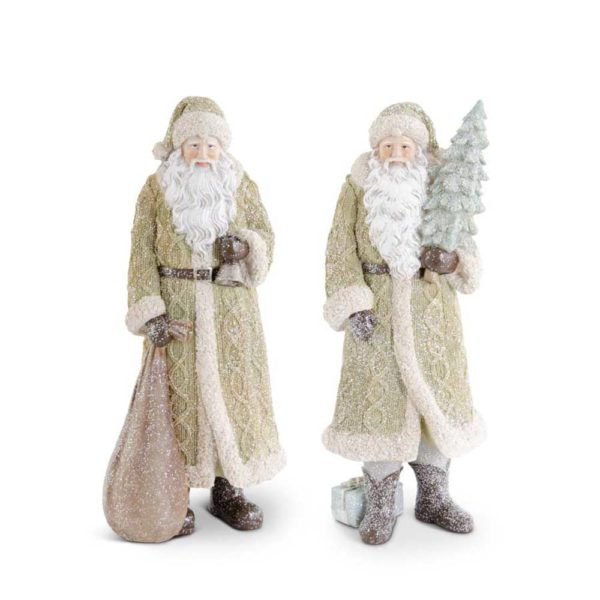 Great-Finds-Parker-Products-K&K Interiors-assorted-glittered-resin-santas-in-olive-green-coat-2-styles