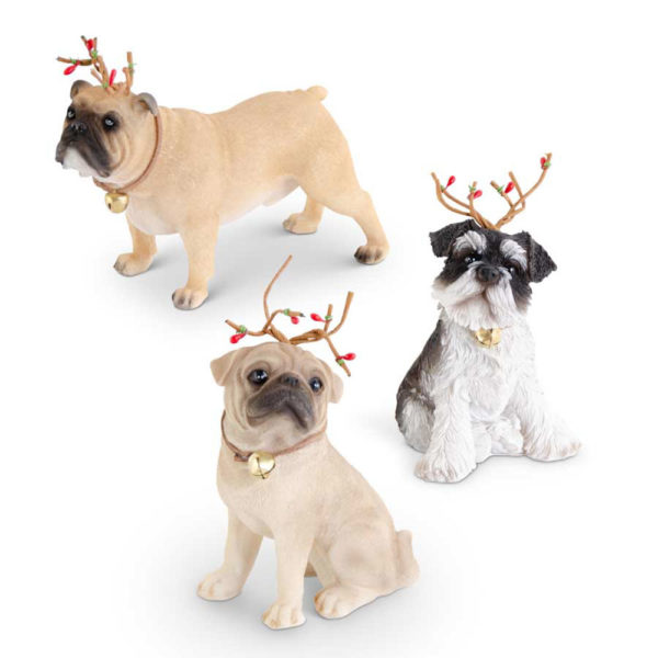 Great-Finds-Parker-Products-K&K Interiors-assorted-resin-dogs-w-antlers-and-bell-3-styles