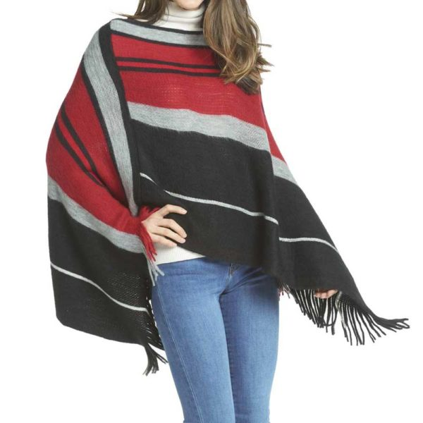 Great-Finds-Parker-Products-K&K Interiors-black-red-gray-stripe-poncho