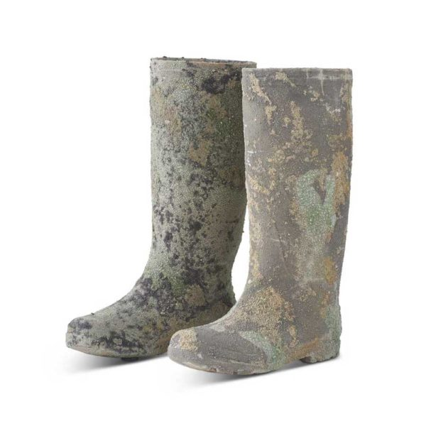 Great-Finds-Parker-Products-K&K Interiors-set-of-2-clay-distressed-patina-garden-boots