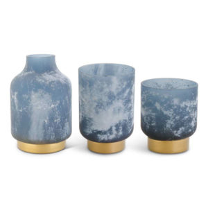 Great-Finds-Parker-Products-K&K Interiors-set-of-3-frosted-blue-glass-containers-w-gold-base-grad-sizes