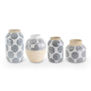 Great-Finds-Parker-Products-K&K Interiors-set-of-4-white-stoneware-vases-w-gray-mandalas
