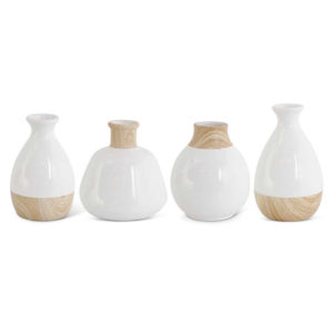 Great-Finds-Parker-Products-K&K Interiors-set-of-4-white-stoneware-vases-w-wood-decal-base-grad-sizes