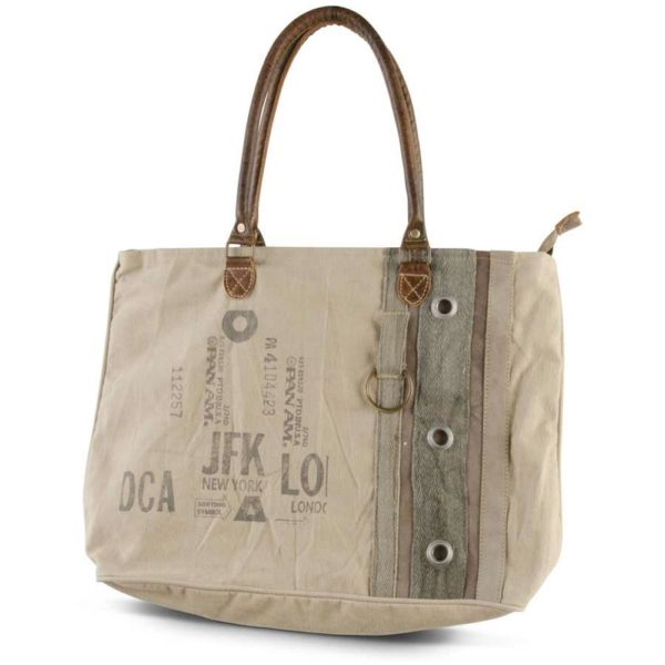 Great-Finds-Parker-Products-K&K Interiors-weathered-canvas-jfk-new-york-london-pan-am-tote-bag-with-brown-leath